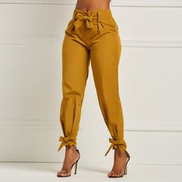 2019 pantalone da donna Pantaloni della matita delle donne Solid Slim Lace Up Bow Elegante semplice ufficio primavera indossare pantaloni casual Stretch pantaloni a vita alta femminile pantalone da donna economici