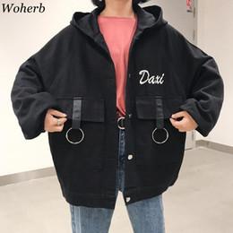 Woherb Hooded Denim Jacket Women Letter Embroidery Oversized Jean Coat Female BF Harajuku Jackets Autumn Bat Sleeve Windbreaker