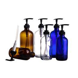 Argentina Envases cosméticos de vidrio Botellas 240 ml Botella de champú marrón Recargable Viajando Gel de ducha Botella Emulsión Loción Bomba Vial cheap brown shampoo Suministro