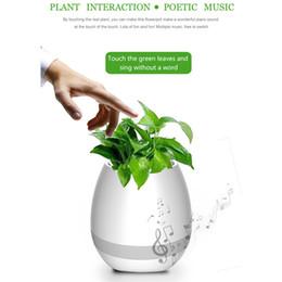 bluetooth lumière intelligente Promotion Veilleuse créative Musica Haut-parleur Pot de fleurs intelligent Prise en charge de la boîte de son Bluetooth Play Piano Music Radio portable à haut-parleur