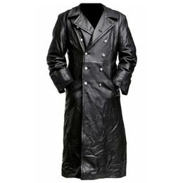 Gabardinas de cuero negro online-ABOORUN larga para hombre de la chaqueta de cuero de la capa de foso del invierno del otoño de la vendimia de la PU chaqueta de cuero Negro 2019 Casual Male Outwear R2690