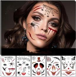 2019 halloween adesivo del tatuaggio Halloween Viso autoadesivo del tatuaggio di 210 * 150 millimetri Viso Temporary Tattoo Festival partito Body Stickers trucco Tatuaggi temporanei Adesivi 9 Stili Gifts halloween adesivo del tatuaggio economici