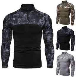 Camisa com zíper com gola on-line-Mens camisetas Esporte Academia Camouflage Splice Stand-up Collar decote Zipper T-shirt Casual solta manga comprida