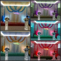 tessuto di seta d'argento Sconti 20ft * 10ft di lusso di seta del ghiaccio di nozze sfondo fase tende con festoni argento tessuto di paillettes puntelli di nozze drappo di raso tenda partito decoratio