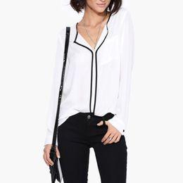 Argentina Camisa de las mujeres del otoño ocasional blanco de manga larga de las mujeres de la vendimia lado negro gasa de la señora blusa camisa de trabajo de oficina desgaste supplier chiffon white kimono Suministro