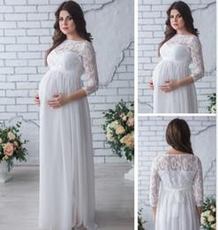 2019 vestidos de gravidez branca sexy Maternidade Vestidos Tamanho Grande Vestido de Renda Soletrando Mulheres Grávidas Sexy Solto Cauda Vestido Longo Saia Mulheres Grávidas Vestido