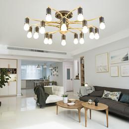 3001de89aaa6 2019 lámpara de techo nórdica luz de lujo simple sala de estar dormitorio lámpara  colgante diseño creativo LED negro oro iluminación de la lámpara E27
