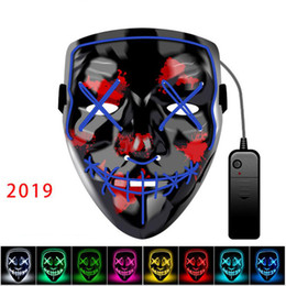 2019 pañuelo militar Máscara de Halloween LED Maske Light Up Party Masks Neon Maska Cosplay Mascara Horror Mascarillas Glow In Dark Masque V para Vendetta