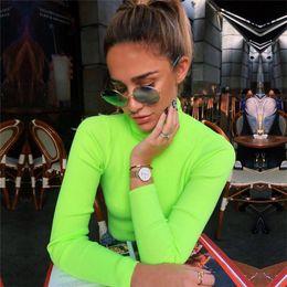 2019 pull en crochet lâche été Automne et Hiver Nouveau Femme Col haut à manches longues Slim Pull Tight fluorescent Casual Couleur Pull Femme