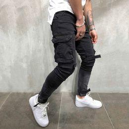 Calças de bandagem on-line-Skinny Biker Jeans Homens Multi-bolso Bandage Fino Carga Basculadores Calças Para Homens Motocicleta Hip Hop Streetwear Ganhos Denim Calças Y190510