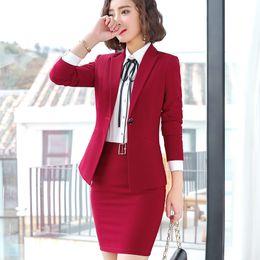 Blazers de senhoras vermelhas on-line-2019 primavera Nova moda Vermelho mulheres saia ternos magro blazer de manga comprida com saia de duas peças set lady escritório plus size workwear
