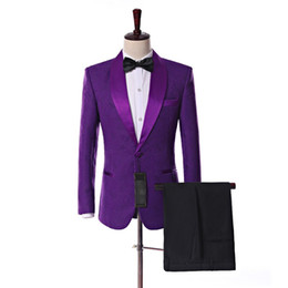 Mens violet veste de costume en Ligne-Nouveautés One Button Violet Paisley smokings marié Shawl Lapel Groomsmen hommes Party Costumes de mariage (veste + pantalon + cravate) K10
