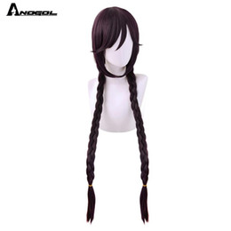 Perruque danganronpa en Ligne-ANOGOL Danganronpa Dangan-Ronpa Toko fukawa Long Purple Double Tresse synthétique perruque cosplay pour Halloween Costume Party