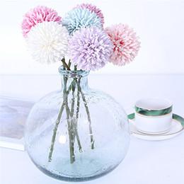 Vasi di bud online-Fiori artificiali Crisantemo Fiore Palla Bud Falso Fiore Ramo Home Decor Per Matrimonio Casa Decorazione Vasi sui0156