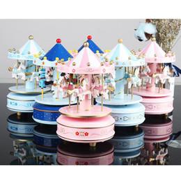 baby-spieldosen Rabatt Karussell Spieluhren Geometrische Musik Baby Raumdekoration Geschenke Unisex Holz Weihnachten Pferd Karussell Box Wohnkultur