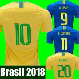 15aba55a5 2018 copa do mundo Brasil camisas de futebol dos homens mulheres Brasil  Jersey 2018 19 JESUS COUTINHO FIRMINO MARCELO camisa de futebol kit camisa  de ...