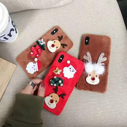 Peluş Noel Durumda 3D Cartton Noel Baba Kabarık Kürk Sıcak Telefon Kılıfı Pürüzsüz Kürklü TPU Arka Kapak iphone X 8 7 Artı 6 6 S OPP TORBA ile nereden pürüzsüz kapaklar tedarikçiler