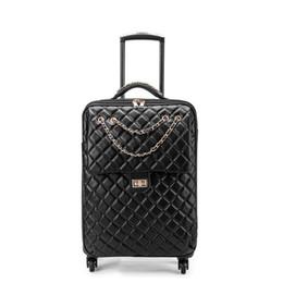 """Rueda de rollo online-Spinner Leather 2025 """"Travel Suitcase On Wheel Trolley 20 Equipaje de mano para mujeres Equipaje con ruedas"""