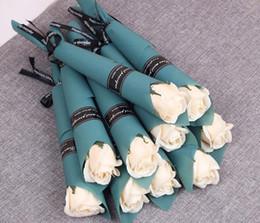 papel de fita Desconto Sabonete Artificial Rose com pacote de papel Craft Fita Sabonete Romântico Flor para Decoração de Festa de Casamento Dia dos Namorados