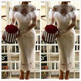 vestido de casamento com bainha de comprimento de chá Desconto 2019 Sexy Lace Frisado Africano Dubai Praia Vestidos de Noiva Bainha Alta Pescoço Mangas Compridas Vestidos de Noiva Vestidos De Noiva Comprimento do Chá