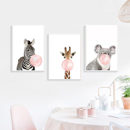 2019 cópias da arte do girafa Pintura Posters Giraffe dos desenhos animados Animais Zebra Prints Canvas Art Wall Art Nursery Imagem Nordic Baby Kids quarto Home Decor cópias da arte do girafa barato