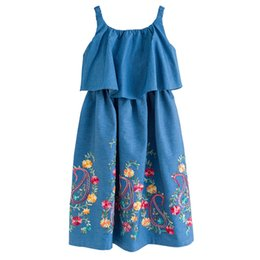 a643cb19cb 6 to 16 years kids   teenager girls summer jeans embroidery floral print  ruffle sleeveless dress children fashion casual dresses