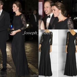 DVF Zarita Siyah Dantel Elbise Kate Middleton Kraliyet Variety Performans Uzun Akşam Elbise Kadın Kıyafeti Ücretsiz Kargo CD067 nereden