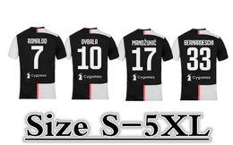 2019 famosi dipinti donne 19/20 Season Club # 7 RONALDO Soccer Jersey 2019 Home DYBALA PJANIC MANDZUKIC Soccer Shirts BONUCCI D.COSTA taglia: S-5XL