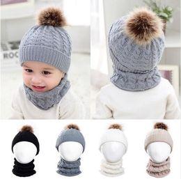 4483293f2d8 Baby Kids Knitted Hat Scarf Children Winter Warm Pompom Fur Caps Beanie  Cute Boys Girls Pom Pom Hats Ring Scarves Suit