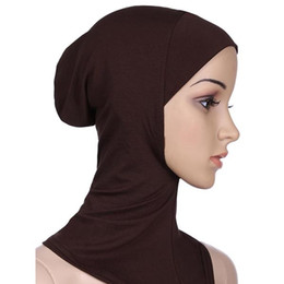 gorras de mujeres musulmanas Rebajas Moda suave musulmán cubierta completa interior mujer Hijab Cap isleta inferior del cuello cabeza capo sombrero debajo del sombrero Cap