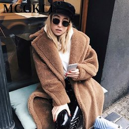 c8925219a8a MCCKLE Women Faux Fur Thick Warm Curly Teddy Coats 2018 Winter Lamb Fur  Fashion Casual Long Jackets Female Oversized Outerwears