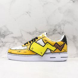 2020 casual desenhos animados sapatos miúdos 2020 New forçada dos desenhos animados Shoes executando um 1 Skate amarelo personalizados Casual homens mulheres crianças Casual Athletic Sneakers Outdoor casual desenhos animados sapatos miúdos barato