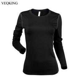 2019 camicia di compressione T-shirt fitness a compressione rapida asciutta VEQKING donna, maglia da allenamento atletica a maniche lunghe, t-shirt da yoga sportiva taglia S-XL # 297664 camicia di compressione economici