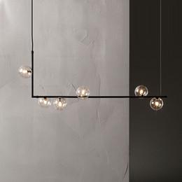 candelabros minimalistas Rebajas Luces de araña minimalistas modernas para la barra de la cocina mesa larga lámpara de araña diseño led negro loft bola de cristal lámpara colgante accesorio