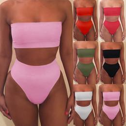 Biquínis sexy sem alças on-line-2019 Strapless Biquíni Sexy bikinis mulheres Conjunto Fora Do Ombro Sólida Bandage Push Up Acolchoado Swimwear Swimsuit Beachwear Pluz Tamanho biquini