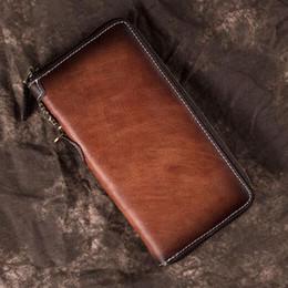 raccoglitore della cassa del telefono delle cellule degli uomini Sconti Cuoio genuino degli uomini la borsa dei soldi da polso Pochette Handy s Holder Coin Cell Phone Pocket Case Maschio lunga cerniera Portafoglio