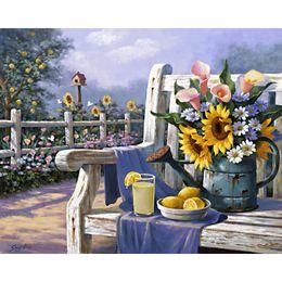 2019 pinturas de limón Pintados a mano bodegones pinturas al óleo Girasoles y limones jardín imagen de arte para decoración de pared pinturas de limón baratos