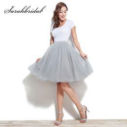 Günstige Tutu Rock Petticoat knielangen Hochzeit Zubehör 6 Schicht Tüll Unterrock Frauen Kleid Rockabilly Größe von S bis 5XL von Fabrikanten