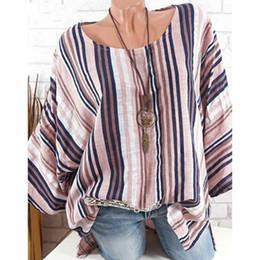Baggy top donne online-Donne più di formato 4XL Top raglan lunghe signore della camicetta del manicotto allentato casuale cotone lino rigato Baggy tunica o camicie collo