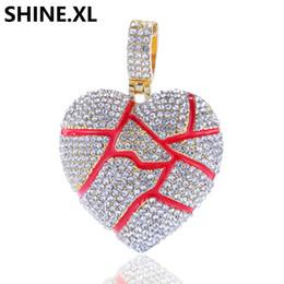 Deutschland Neue Stil Blase Gebrochenes Herz Anhänger Halskette Iced Out Diamant Männer Bling Hip Hop Schmuck Geschenk cheap bubble heart necklace Versorgung