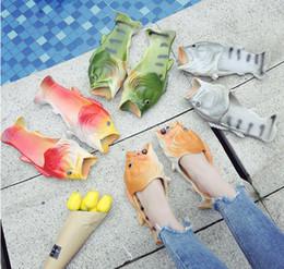 chinelos engraçados Desconto Criativo Peixe Chuveiro Chinelos Engraçado Praia Sapatos Sandálias Bling Flip Flops Verão Em Forma de Peixe Sapatos Casuais navio livre