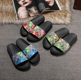 pvc wraps Promo Codes - With Box 2019 Slides Summer Luxury Designer Beach Indoor Flat G Sandals Slippers House Flip Flops with Spike Sandal