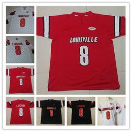 Mens NCAA Louisville Cardinals Lamar Jackson College Football Jerseys  Stitched White Red Black  8 Lamar Jackson Jersey S-3XL 896b4d4b4