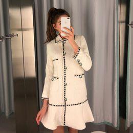 2019 manteau de soirée blanche Femmes Longue Tweed Manteau Dress Automne Hiver Simple Sirène Poitrine De Travail Bureau Laine Manteau Blanc Lady Korean Pocket Laine Outwear promotion manteau de soirée blanche