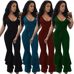 13dac5cde11 Plus Size 3XL Women Jumpsuit Romper 2019 Sleeveless Deep v Neck Flare  Trouser Sexy Club Wear Party Tunic Outfit Fashion overalls YD5075