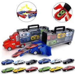 Modelos de camiones de juguete contenedor online-Juguete para niños Catapult Battle Container Truck Caja de almacenamiento 12 Deslizante Pequeño Modelo de Coche de Aleación de Juguete Regalo de Cumpleaños Regalo de Vacaciones J190525