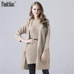 639aaaef3dcac5 Discount women winter sleeveless sweater - FUNCILAC Knitted Jacket +  Sleeveless Dress Solid Set Autumn Winter