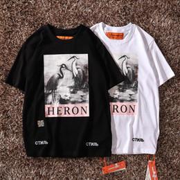 2019 faixa de solteira de ferro New York Fashion Heron Impressão Homens Mulheres Rua algodão luxo casual manga curta Mens Designer T Shirts