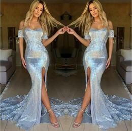 Vestidos de festa brilhantes on-line-Brilliant Sliver Lantejoulas Vestidos de Baile Querida Alta Lateral Dividir Sereia Manga Curta Arábia Saudita Vestido De Festa Vestido de Celebridade 2019