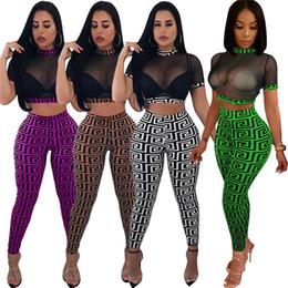 i vestiti indossano i pantaloni di yoga Sconti Le donne sottili del club vestito manica corta pullover garza magro pantaloni lunghi due pezzi abiti di moda usura club sexy